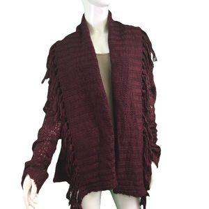 NWT Mystree Burgundy Knit Tassel Cardigan
